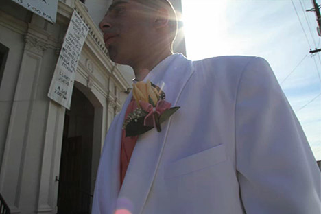 Man with a corsage