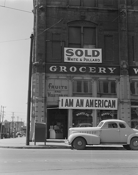 "Dorothea Lange photo titled ""Japanese Owned Grocery Store, Oakland, 1942"""